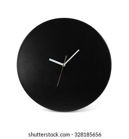 Black simple round wall clock - watch isolated on white background
