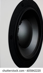 black six inch speaker driver mounted on a white box