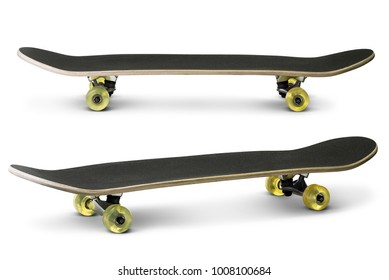 Black skateboard isolated on white background with clipping path