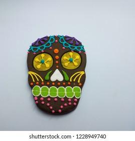 black skeleton head cookie on white background