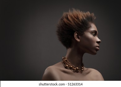 Black skin .African woman.Beauty professional fashion model,studio shot with cool make up.Beautiful African American girl.