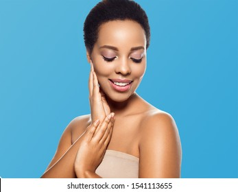 Black skin beauty woman healthyskin teeth and hair model