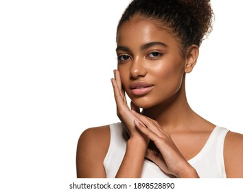 Black skin beauty young girl woman model with healthy skin isolated on white