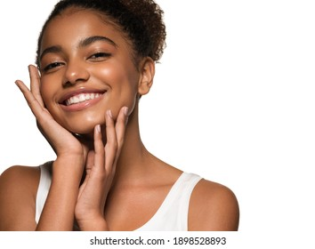 Black skin beauty young girl woman model with healthy skin and beautiful teeth smile isolated on white