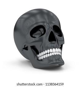 Black skull. 3D Illustration.