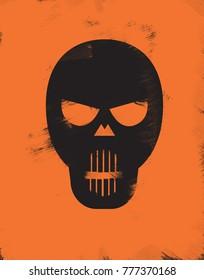 Black Skull on orange background