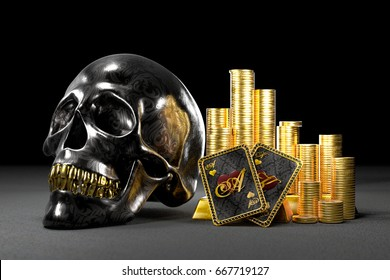Black skull with pile of money and gold and best Texas Hold'em poker hand. 3D illustration metaphor of high risk and high reward or betting.
