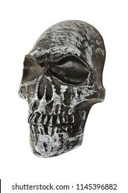 Black Skull three quarter view on white background, space for text. Studio Photo.