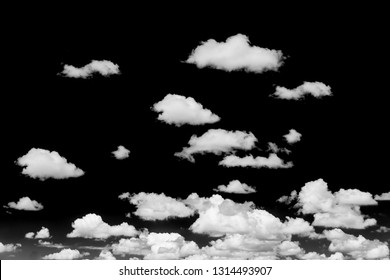 Black sky white cloud, Cloudscape black and white image