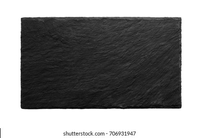 Black slate board isolated on white background