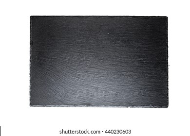 black slate board for serving isolated, top view