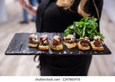 Black slate hors d'oeuvres service