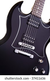Black Sleek Looking Electric Guitar close up of strings and Frets.