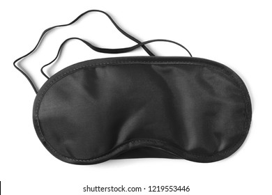 Black sleeping eye mask, isolated on white background
