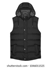 Black sleeveless vest with hood isolated on white