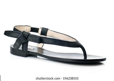Black slipper  isolated on white background.
