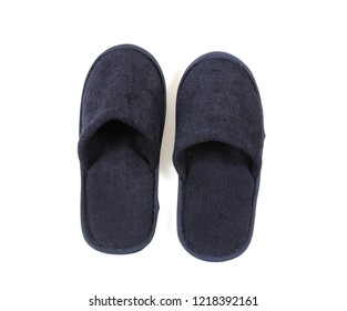 Black slippers isolated on white background