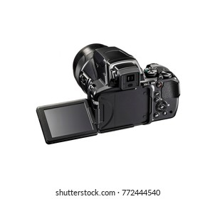 black SLR camera with fold able screen