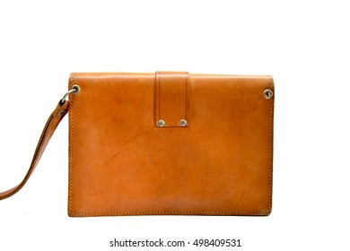 Black of small light brown leather man bag with white background,second hand