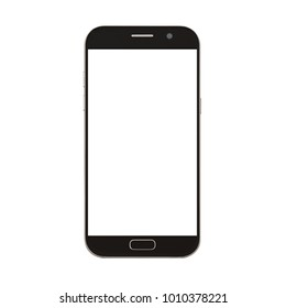 black smart phone with blank screen isolated on white background