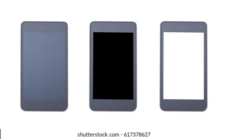 Black smart phone isolated on white background. Set