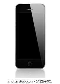 Black Smart Phone with Shiny Effect Isolated on White Background
