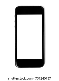 black smart phone with white screen