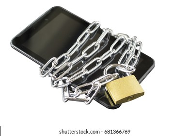 black smart phone  wrap with chain and golden lock on white background isolated with clipping path, internet security concept