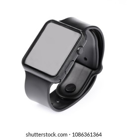 Black smart watch isolated on white background.