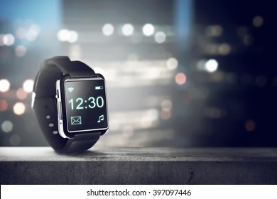 Black smart watch. You can put your design on the screen
