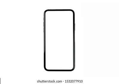 Black smartphone with blank screen isolated on white background. Mockup to showcasing mobile web-site design or screenshots your applications.