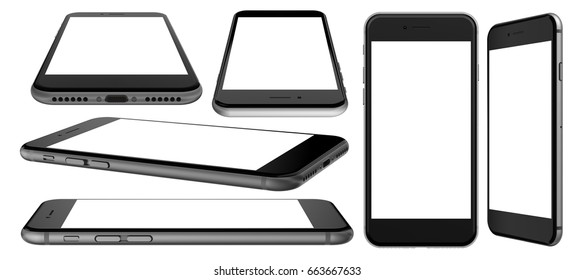 Black smartphone with blank screen and isolated on the white background. 3d illustration.