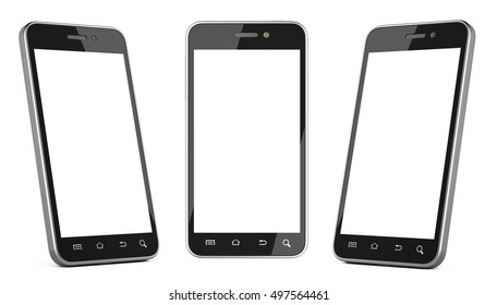 Black smartphone with blank screen left, right and front view. Isolated on white background 3d image.