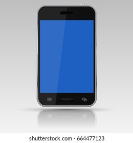 Black smartphone with blue screen. 3d illustration isolated on white background. Raster version