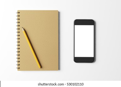 Black smartphone and brown notebook with yellow pencil on the white table. Mock up. Top view. 3d rendering