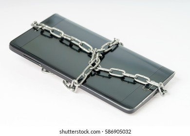 Black smartphone with a metal chain