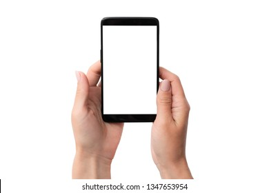 Black smartphone mockup in hand for your design isolated on a white background