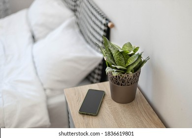 Black smartphone on the nightstand. Green plant in a flower pot on the table in the bedroom against the background of the bed