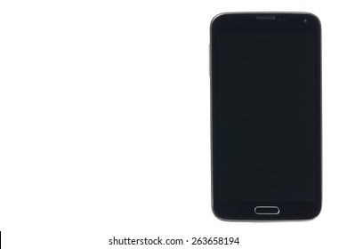 Black smartphone with silver edges isolated on white background