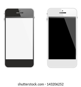 black smartphone with white screen, white cellphone with black touchpad