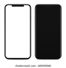 Black smartphones with blank screen, isolated on white background. 3d illustration.