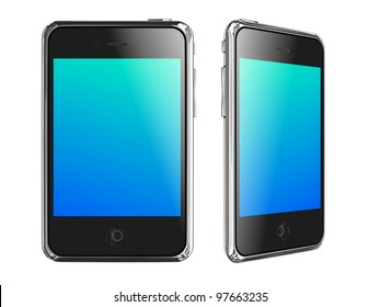 Black Smartphones on White Background, 3D Render.