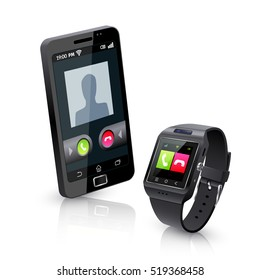 Black smartwatch alerts for compatible smart phone incoming call realistic objects composition with white background  illustration
