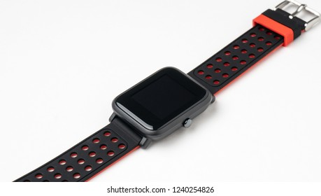 Black smartwatch isolated on white background