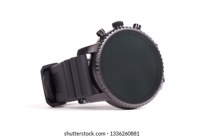Black smartwatch isolated on a white background