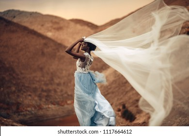 Black smiling bride in long wedding dress stands and holds waving bridal veil in her hands on background of beautiful landscape at sunset. Side view.