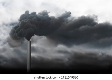 Black smoke from chimney polluting the air