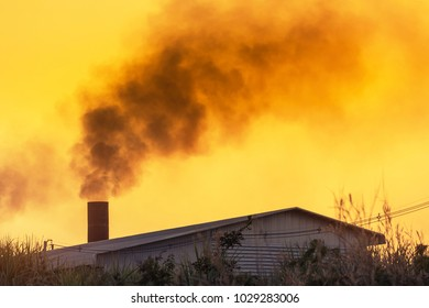black smoke from factory smokestack on sunset time