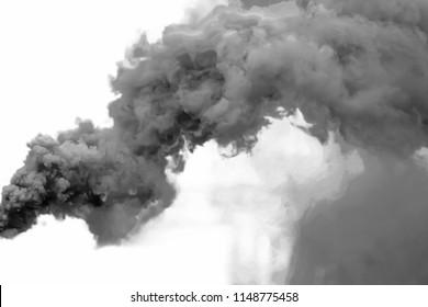 Black smoke, isolated on white background.
