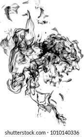 black smoke on white background, abstraction